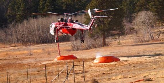 Helitanker 715 at the Fern Lake Fire