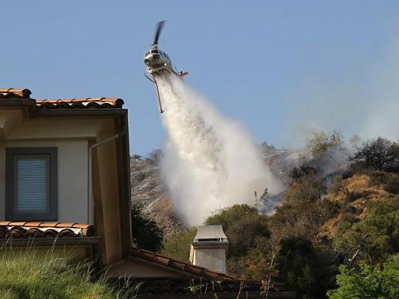 LA County helicopter dropping on Madison Fire