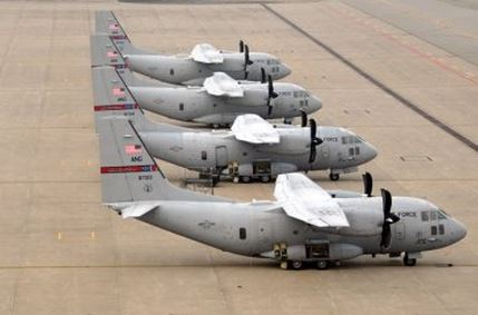 C-27Js at Mansfield, Ohio Feb. 13, 2013. US Air Force photo by Staff Sgt. Joseph Harwood
