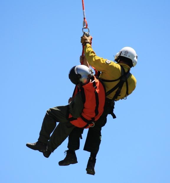 Yellowstone Helitack crew, short haul training. NPS photo.