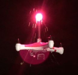 Splash drone, showing a burning flare or fusee