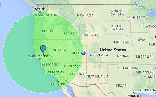 500 nm radius from Sacramento