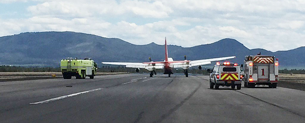 Blown tire on air tanker closes runway at Redmond Airport