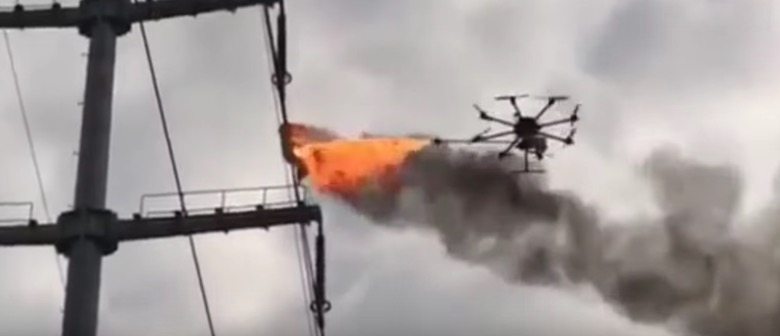 drone power line fire debris