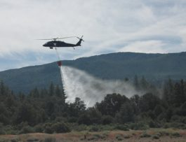A bucket drop test during training with the Nevada Division of Forestry and Nevada National Guard. Courtesy photo.