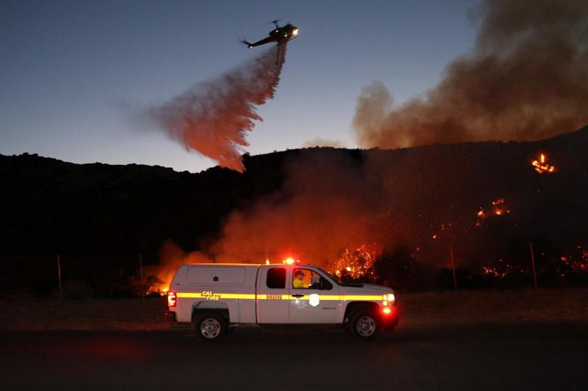 Helicopter drop on the Jameson Fire in California