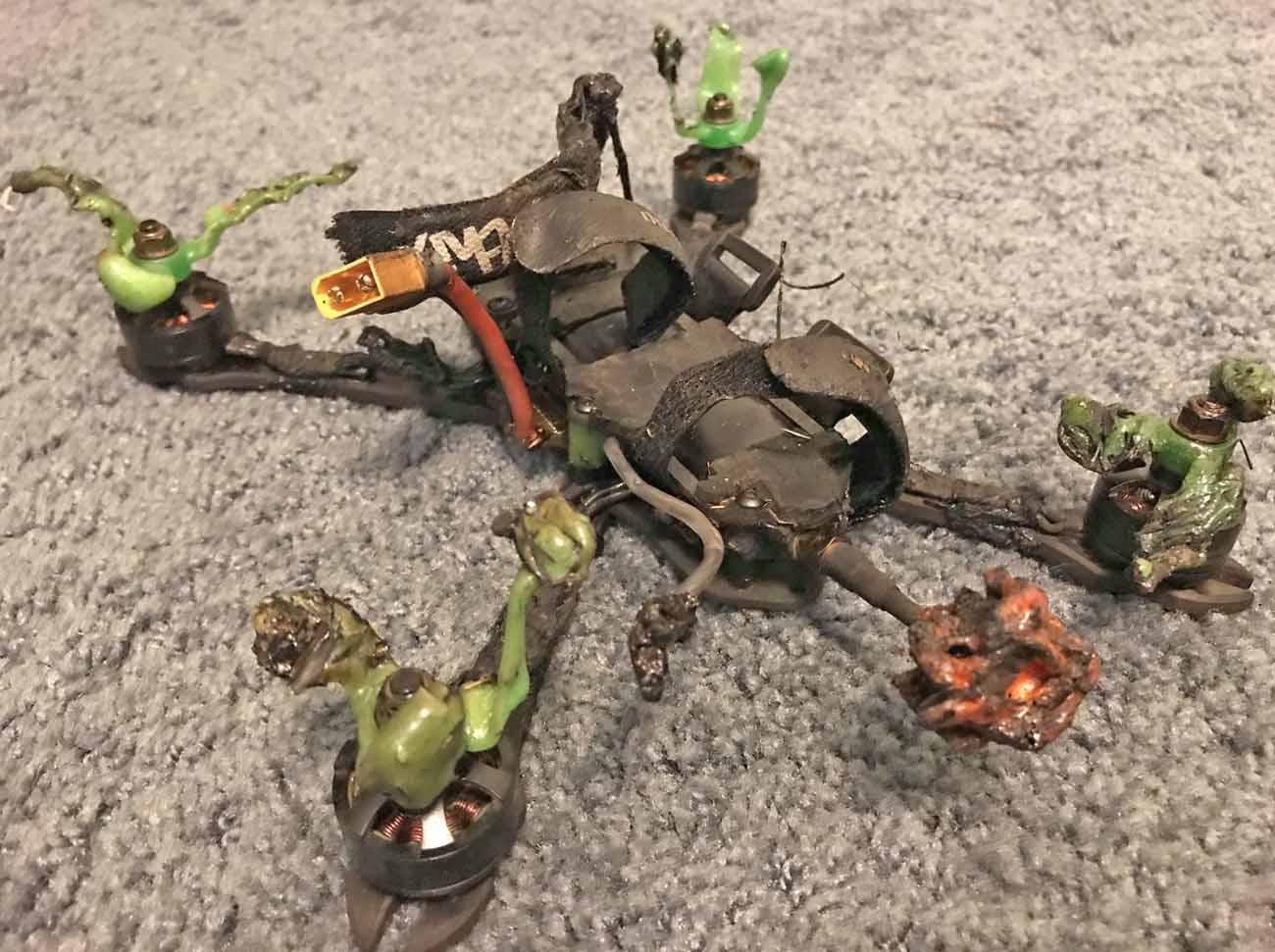 drone crash starts fire