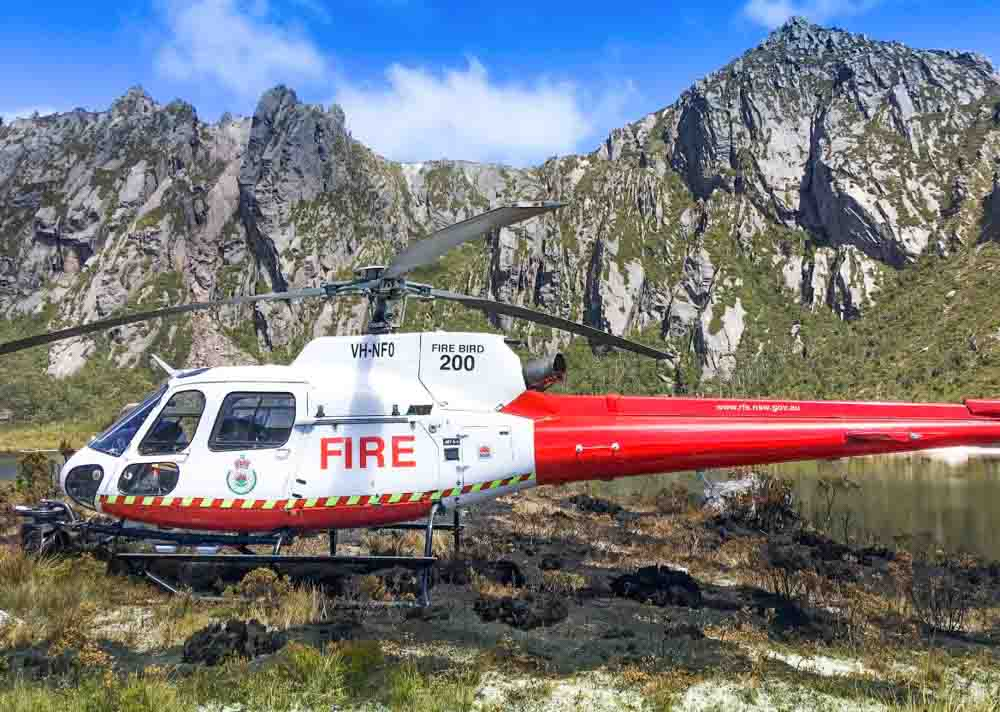 Gell River Fire Tasmania helicopter