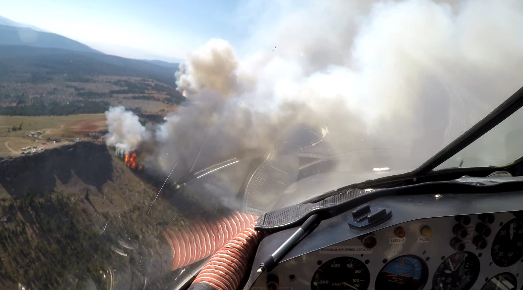 view from P2V dropping fire retardant