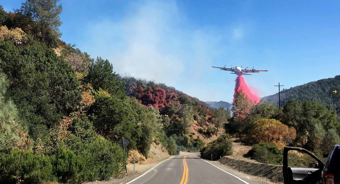 C-130 air tanker retardant drop Canyon Fire California