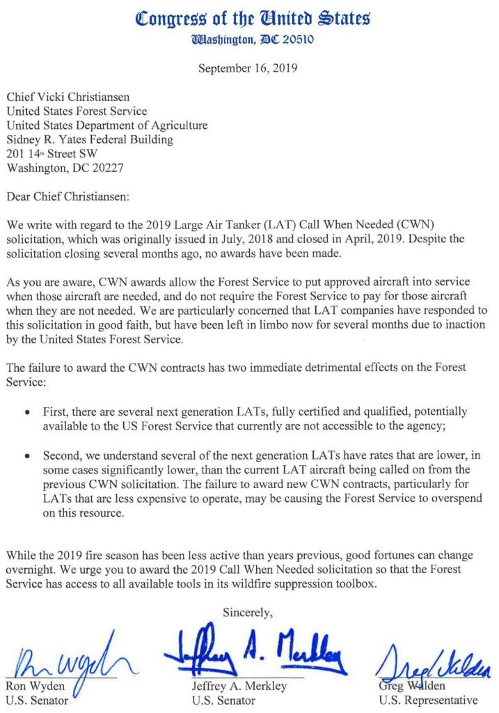 Congressional Letter CWN air tanker Contract