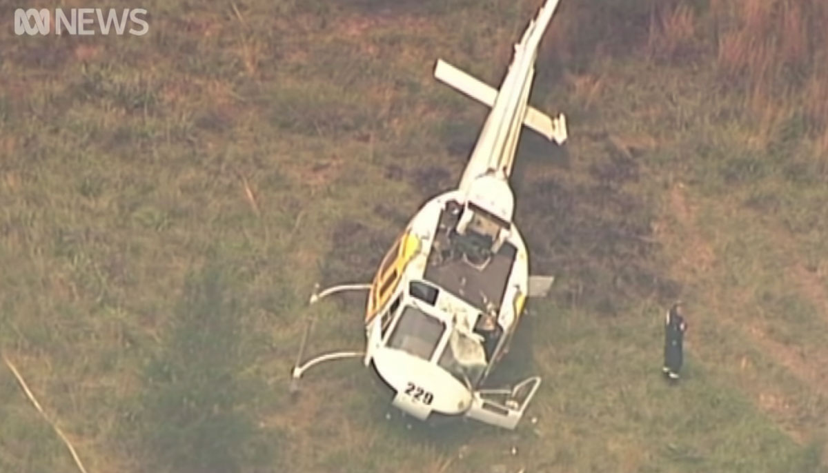 helicopter hard landing New South Wales fire