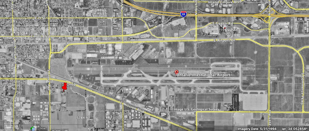 Ontario Airport C-119 jettisoned fire retardant map