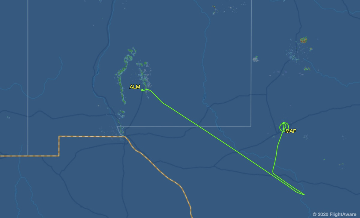 route of Tanker 101 April 21, 2020 engine failure Texas