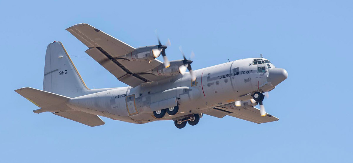 Coulson T-132 departing Davis-Monthan C-130H air tanker