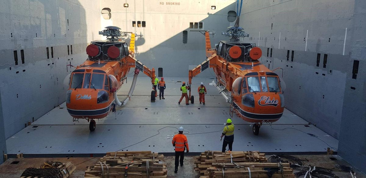 Erickson loads Air-Crane helicopters Australia Greece