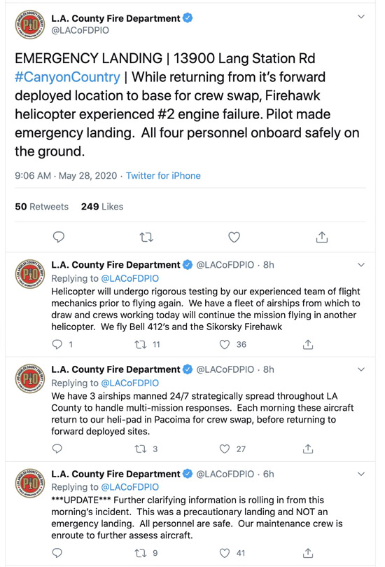 LA County Firehawk helicopter Precautionary Landing