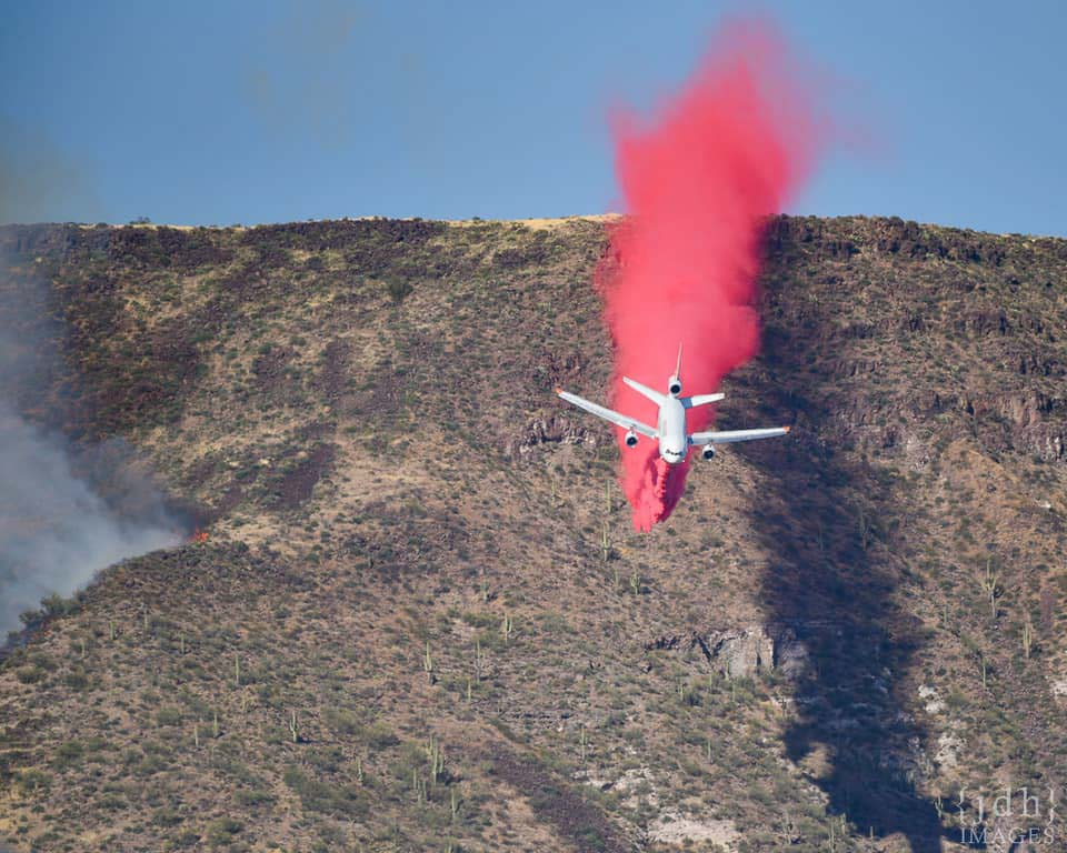 Air Tanker 914 DC-10 drops retardant Central Fire Arizona Phoenix
