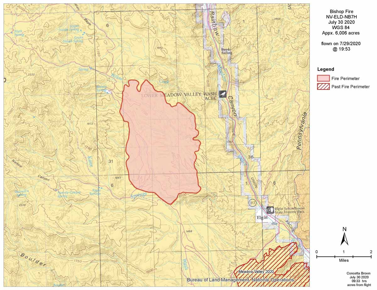 map Bishop Fire