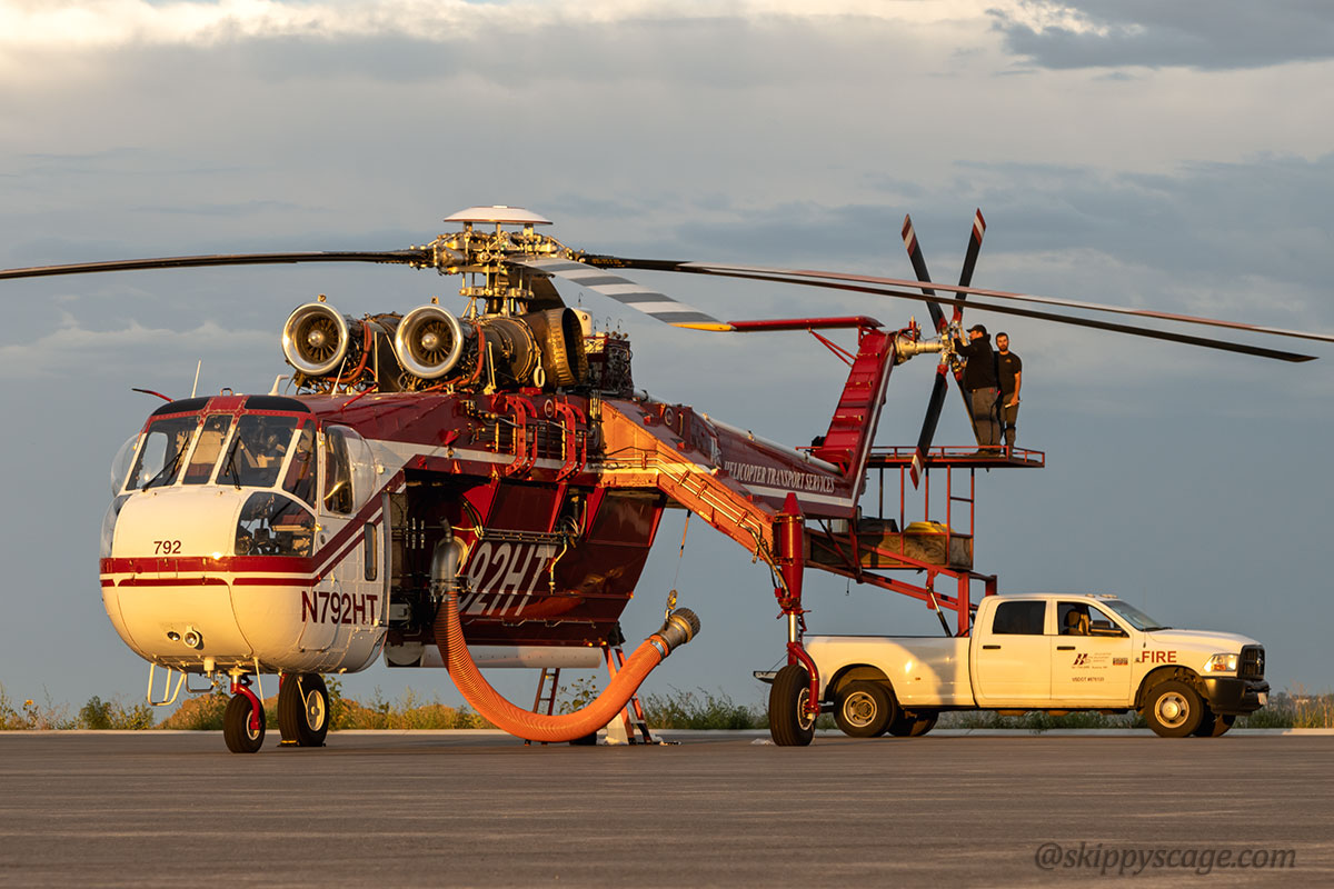 Helicopter 92HT, a CH54 (N792HT) fire