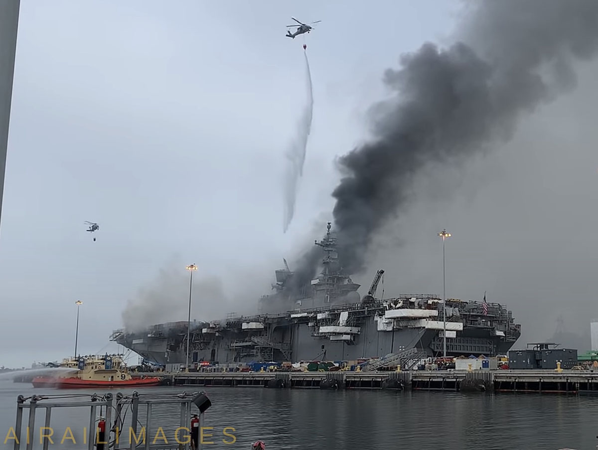 Helcopters drop on shipboard fire