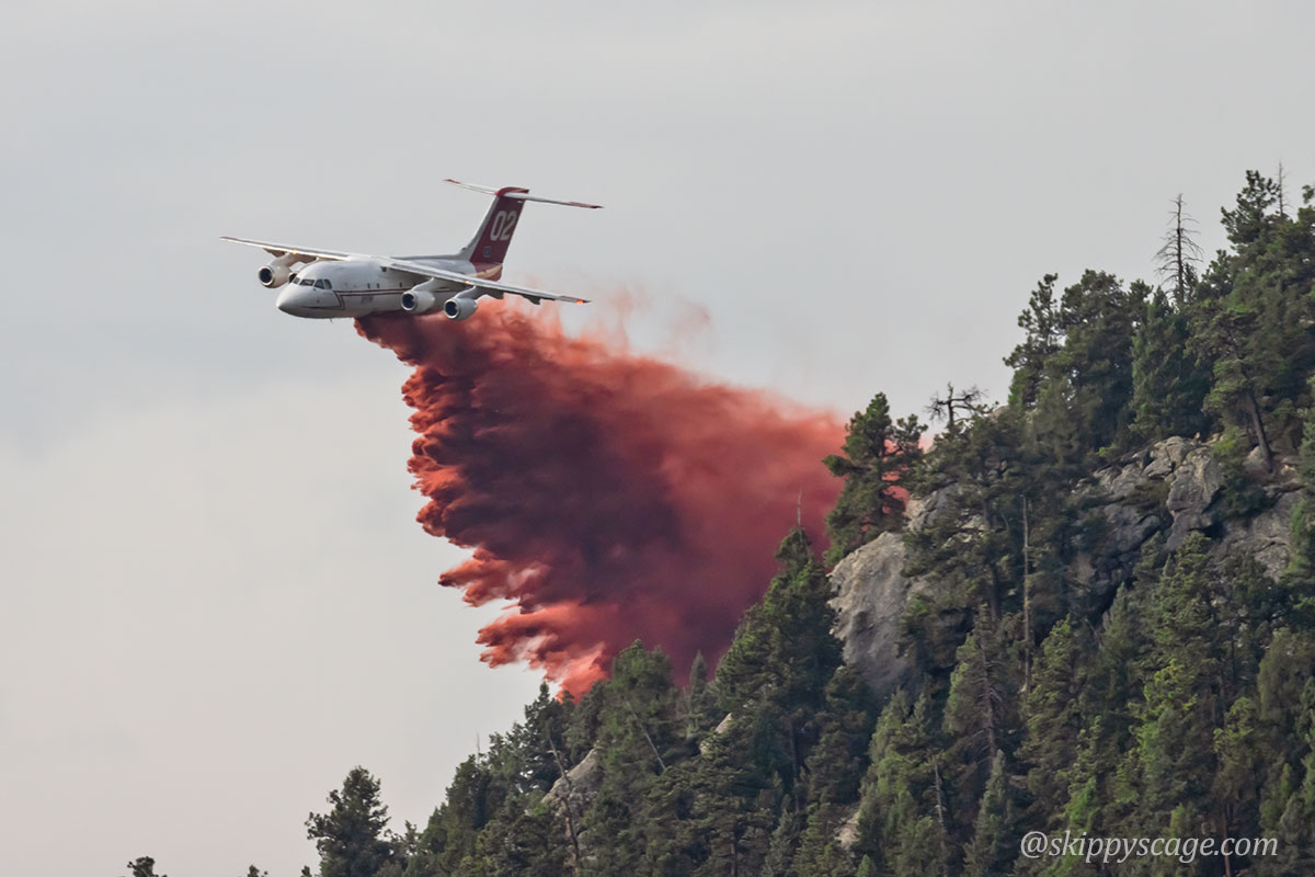 Tanker 02, a BAe-146, dropping on the Elephant Butte Fire