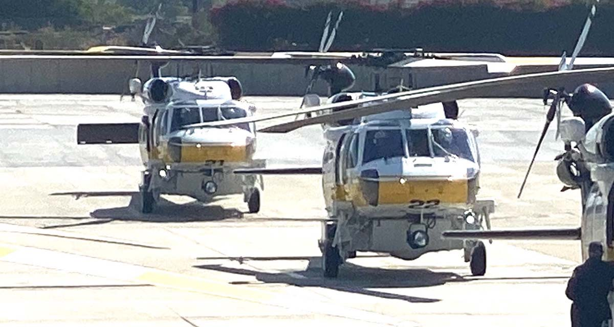 Los Angeles County Fire Department helicopters 21 and 22