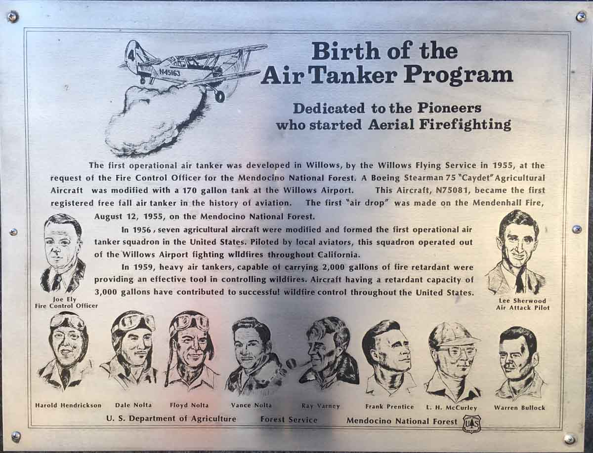Willows air tanker history plaque