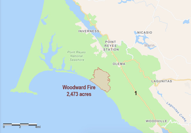 Woodward Fire map August 23, 2020