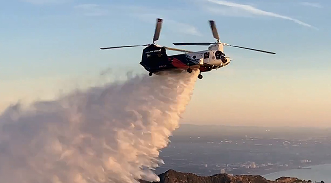 CH-47 Chinook 3,000-gallon water drop