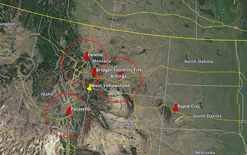 100-mile radius circles around tanker bases at Helena, Billings, and Pocatello