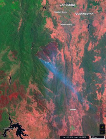 map bushfire in Namadgi National Park