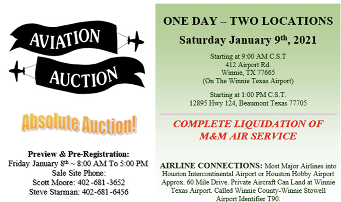 Auction information M&M Air Services