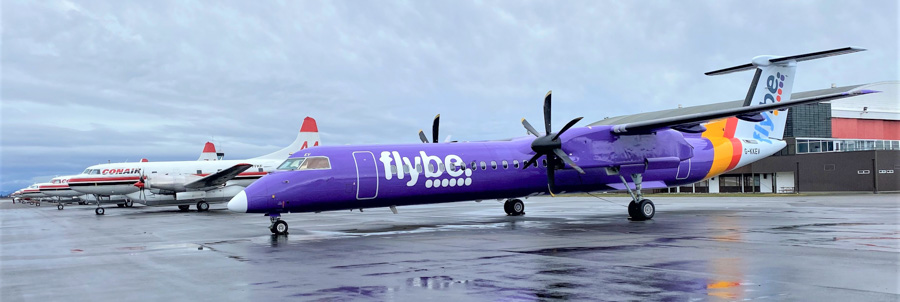 first Flybe Q400 arrives at Conair