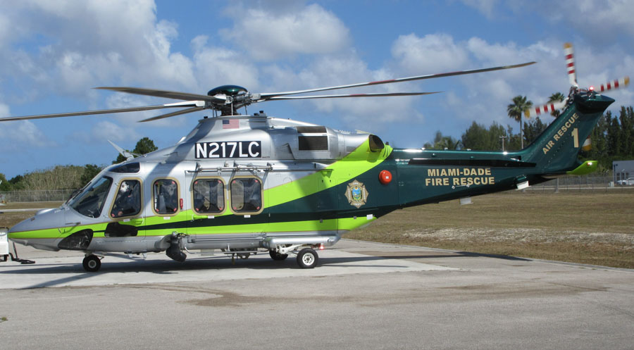 Miami-Dade Fire Rescue's Helicopter #1, an AW139, N911RZ