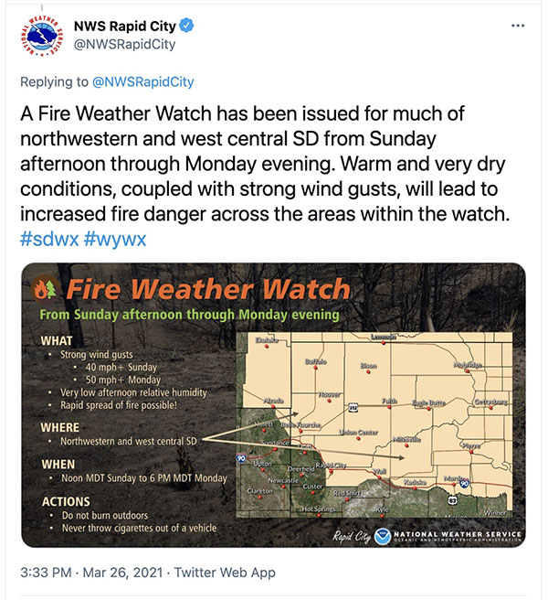 Weather forecast two days before the Schroeder Fire