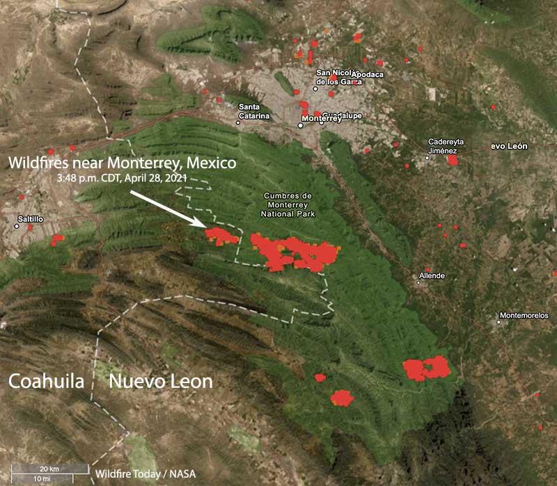 Wildfires near Monterrey, Mexico