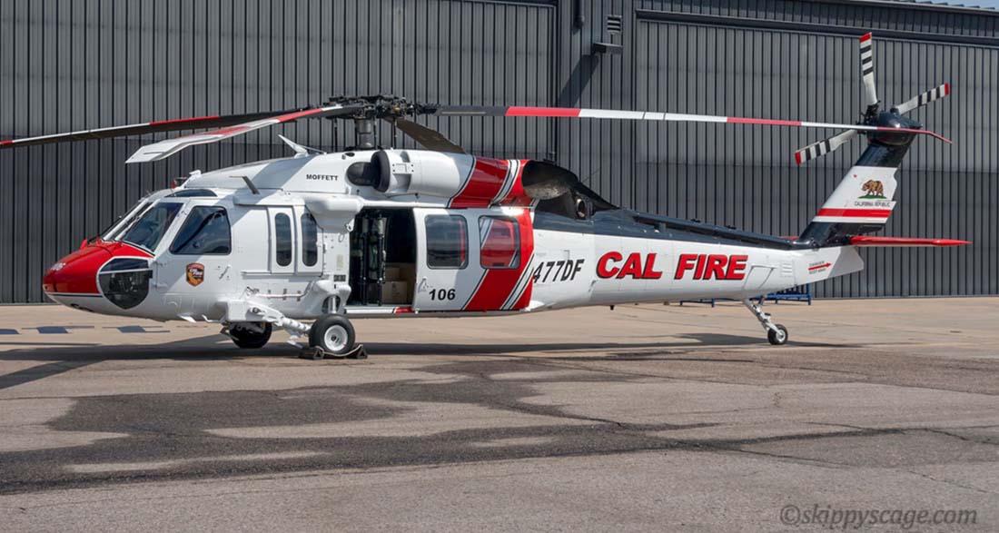 CAL FIRE helicopter Firehawk, Moffett, S-70i, N477DF