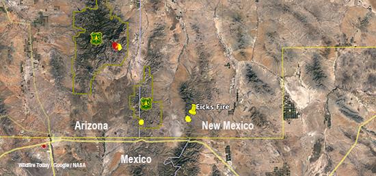 Map of Eicks Fire