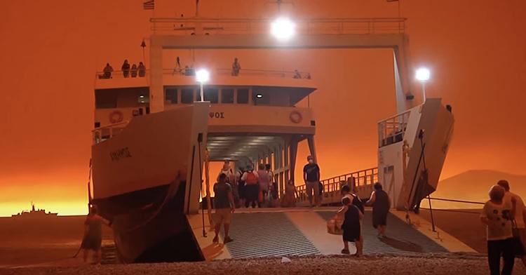 Evacuation ferry Greece